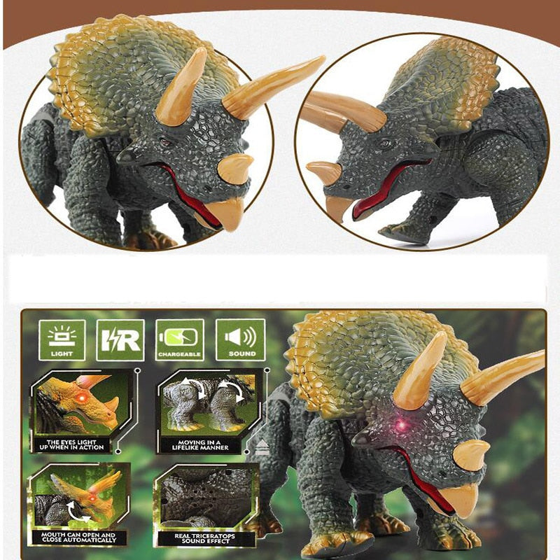 Electronic LED Remote Control Walking Triceratops Dinosaur