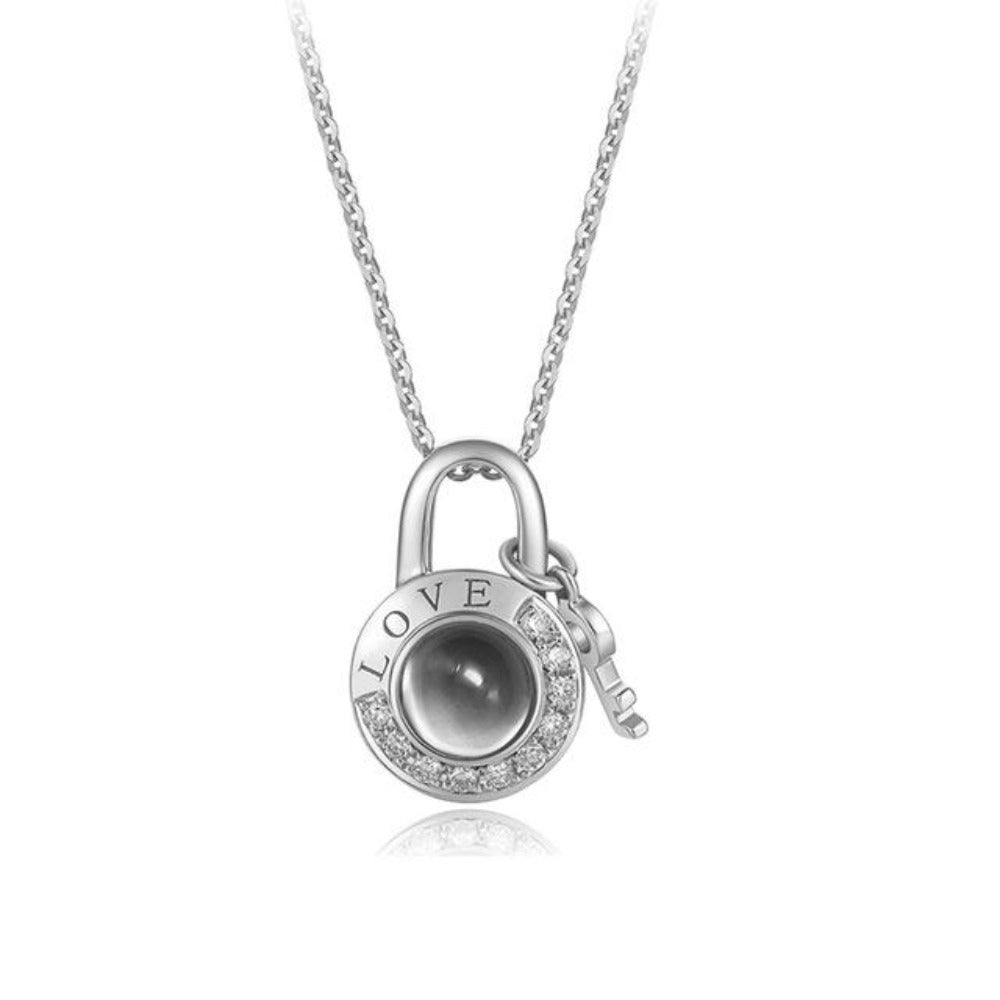 """I Love You"" Forever (Key to My Heart) 100 Language Micro Projection Necklace"