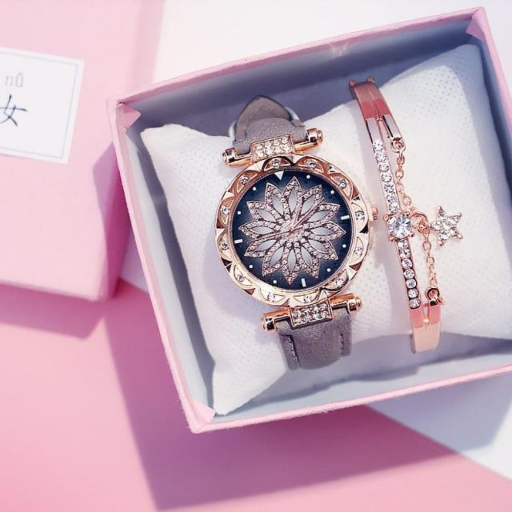Luxury Starry Sky Women's Watch With Bracelet & Gift Box (9 Styles)
