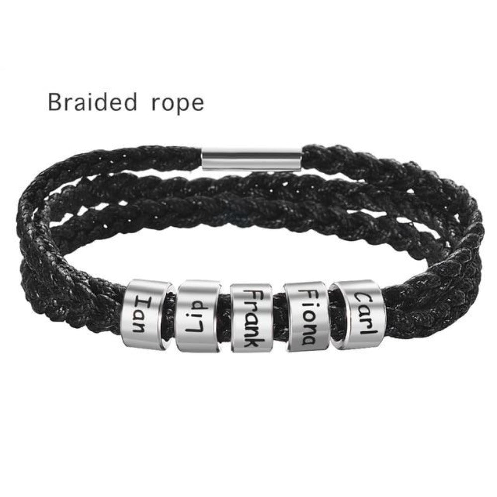 Men or Women Leather Custom Bracelet Personalized Beads Children, Pets, Family Names (up to 10 names)