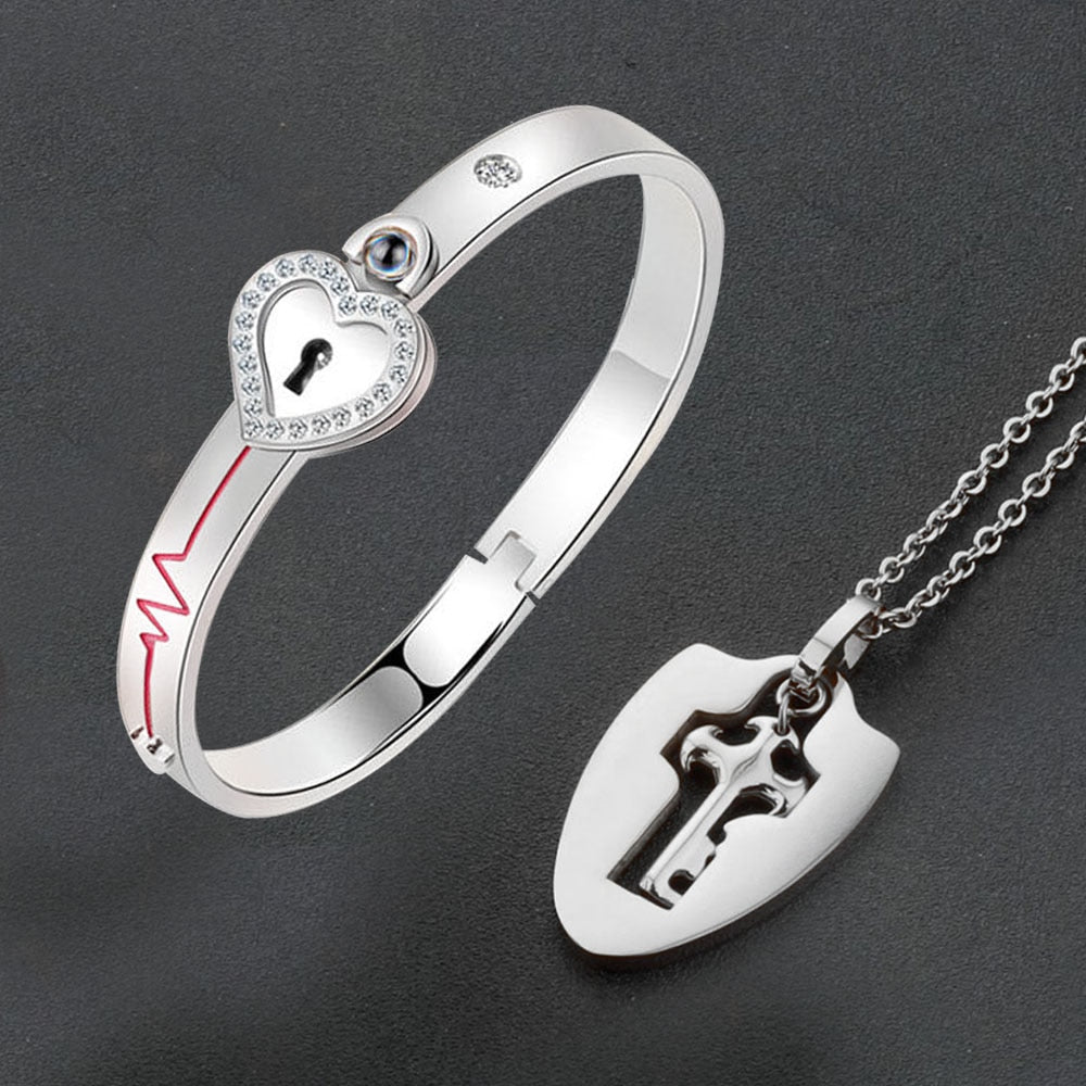 100 Language Heartbeat Key to My Heart Couple Necklace & Bracelet Lock and Key Set (16 Designs)