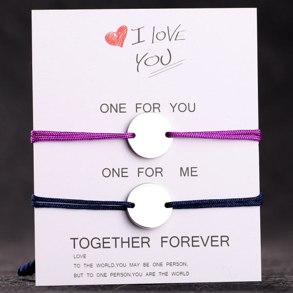 Together Forever Custom Initial & Date Set of Bracelets (6 Styles)