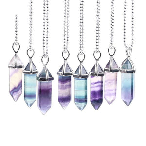Fluorite Crystal Hexagonal Quartz Reiki Necklace (3 Colors)