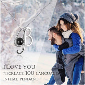 """I Love You"" Forever (Initial) 100 Language Micro Projection Necklace (A-Z Gold or Silver)"