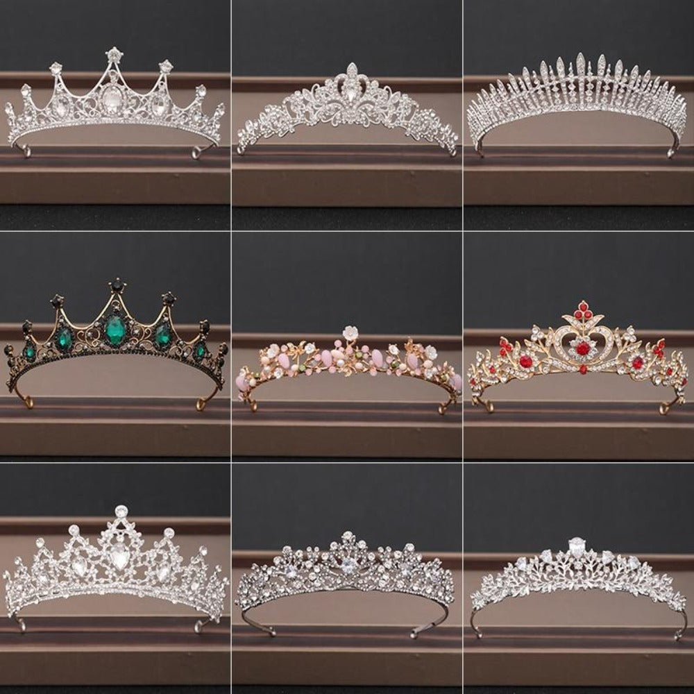 Rhinestone Crown Tiara Headpiece (31 Designs)