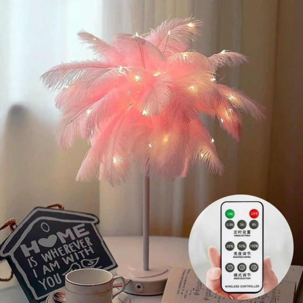 Feather Tree Lamp with Fairy Lights (8 Styles)