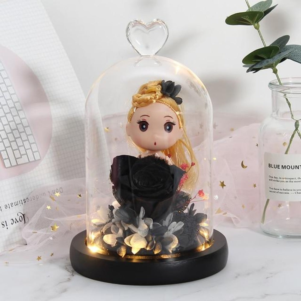 Immortal Enchanted Rose Glass Heart Dome w/ Princess Doll (13 Designs)