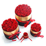 Luxurious Immortal Enchanted Preserved Rose In Round Gift Box (4 Sizes) 3 Colors