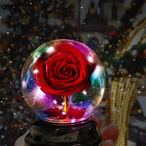 Crystal Ball Enchanted Red Rose LED Glass Display