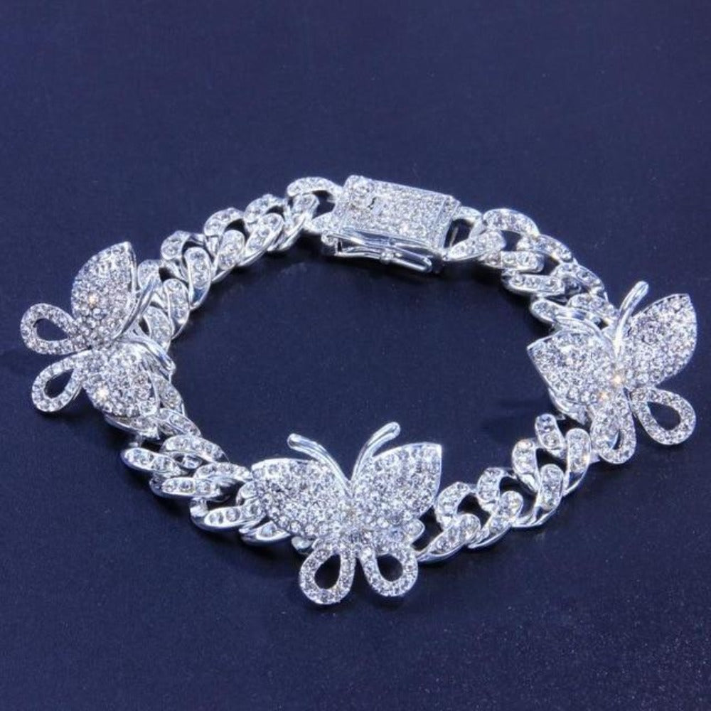 Iced Butterfly Anklet (3 Colors) 2 Sizes Cubic Zirconia