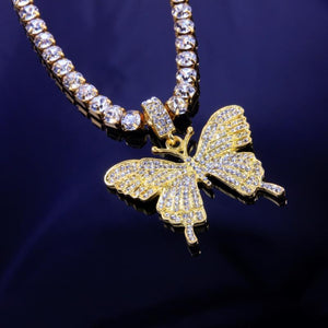 Iced Butterfly Pendant Necklace (4 Colors) Cubic Zirconia