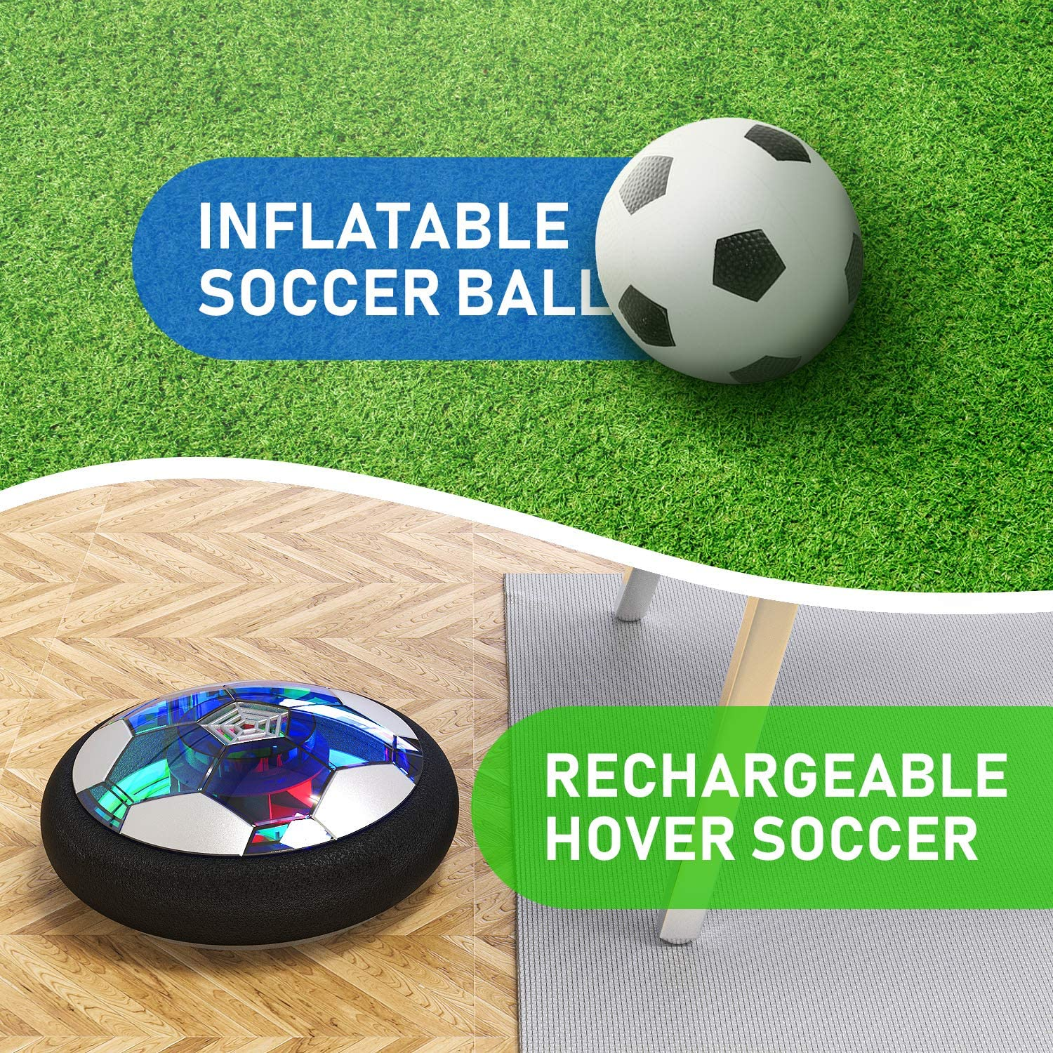 2020 Upgraded Hover Soccer Ball Floats Glides Optional Goal Net