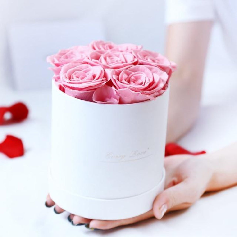 Luxurious Immortal Enchanted Preserved Rose In Round Gift Box (3 Sizes) 3 Colors White or Black Box