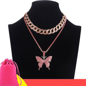 Double Iced Butterfly Pendant Necklace Cuban Chain (9 Colors) Cubic Zirconia
