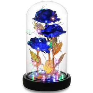 Triple Head Galaxy Enchanted Rose LED Glass Display (4 Colors)