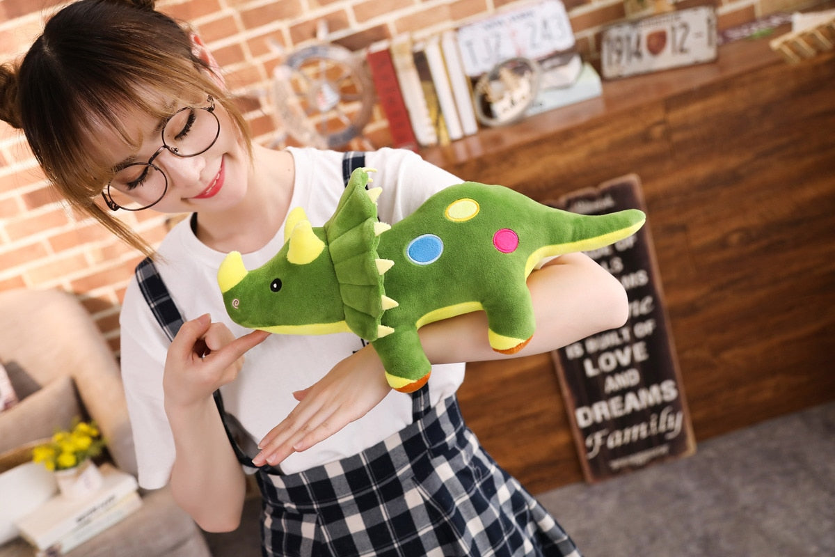 Dino Triceratops Pillow Plush 3D Stuffed Animal (3 Colors 3 Sizes)