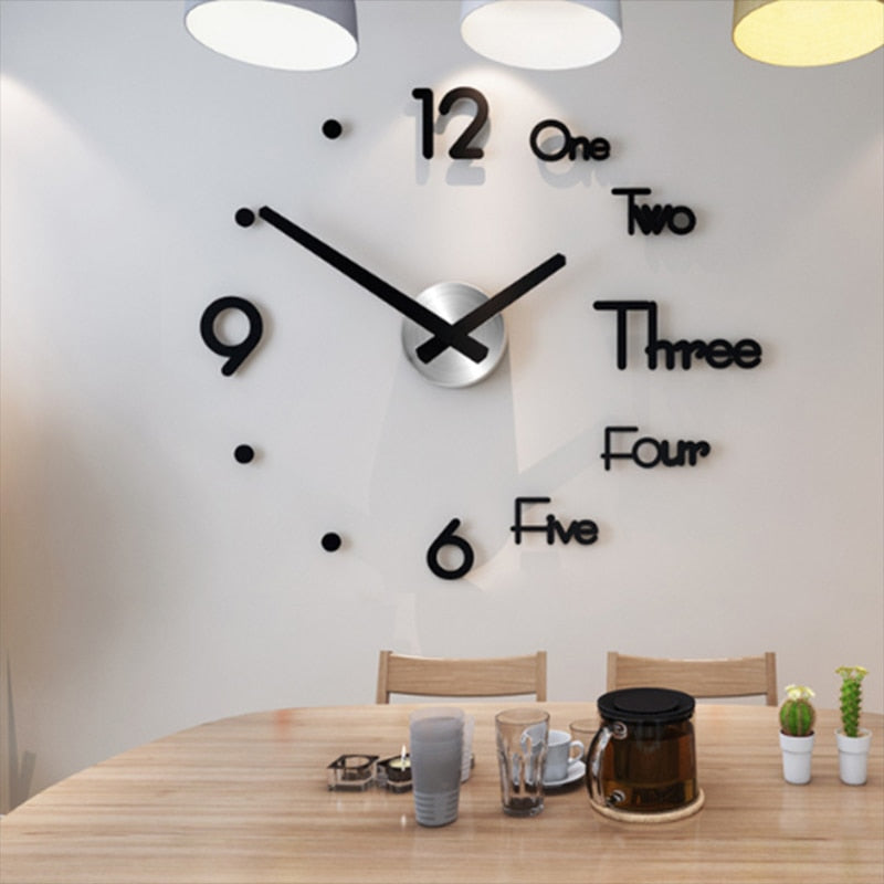 Self Adhesive Quartz Wall Clock (3 Colors/2 Sizes)