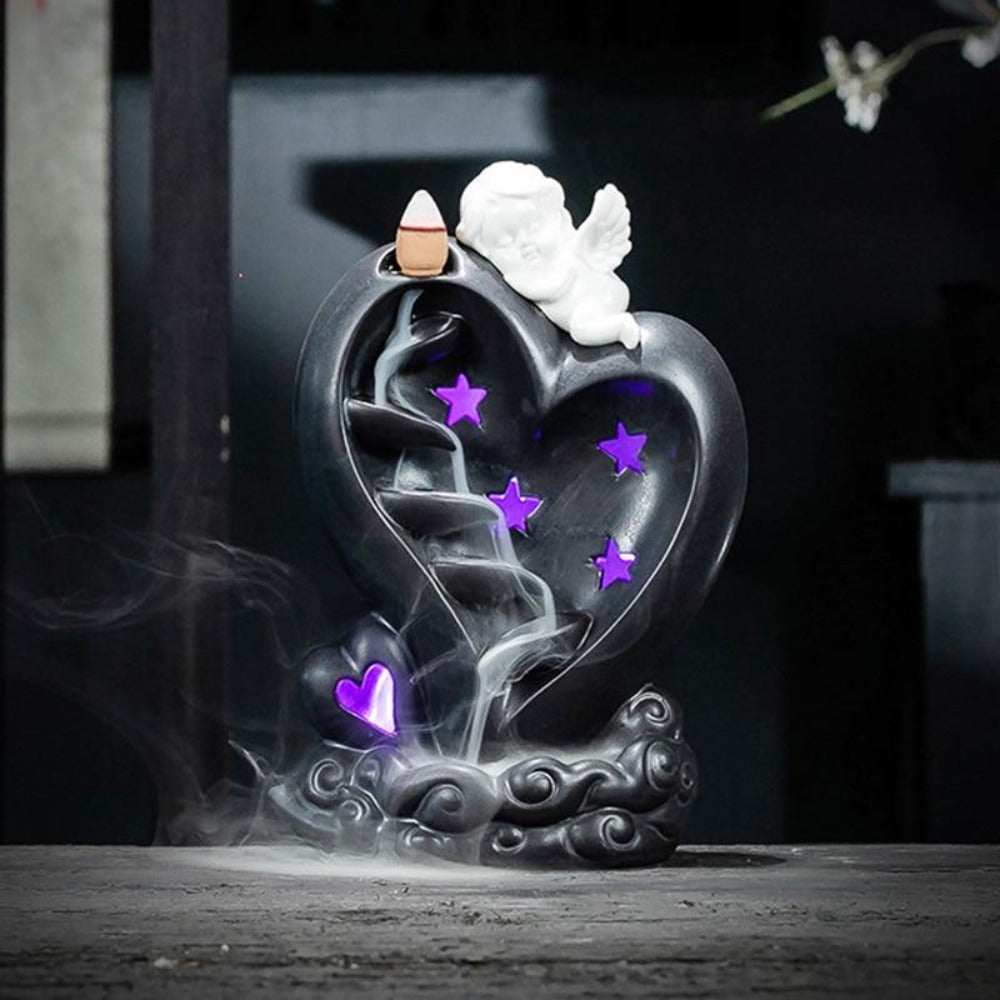 Cherub Angel Heart Down Flow Draft Incense Burner (2 Designs)