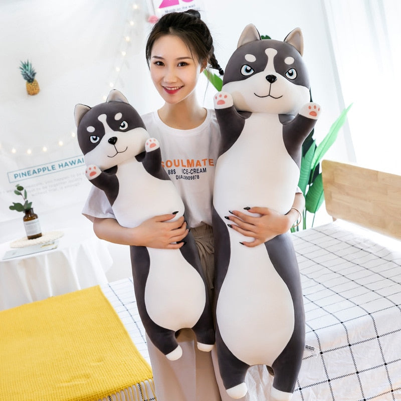 Tubular Husky Dog Pillow Plush 3D Stuffed Animal (4 Sizes)