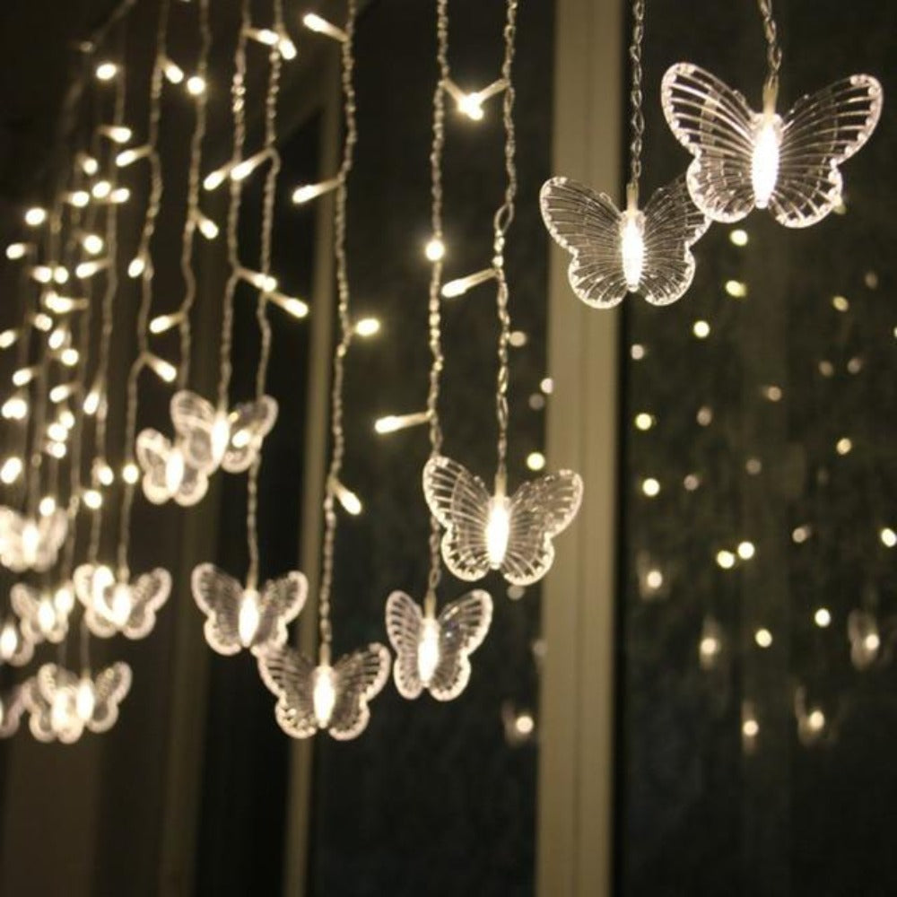 Butterfly Icicle Garland String Lights (6 Colors) 150 or 300cm US Plug