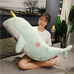 XL Sleepy Narwhal Whale Pillow Plush 3D Stuffed Animal (2 Sizes) 4 Colors