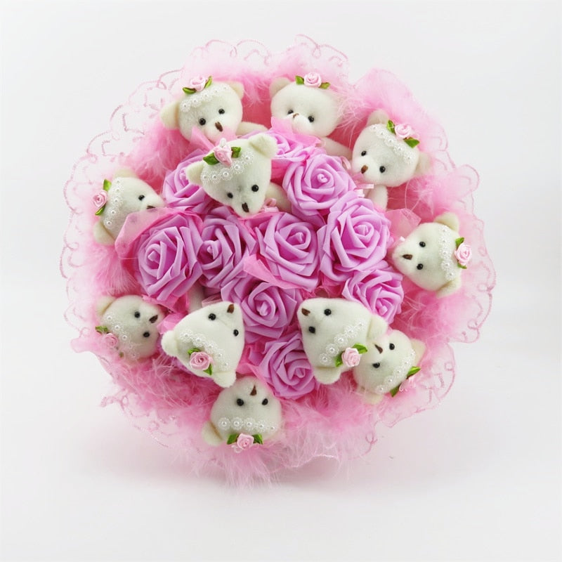 Rose Teddy Bear Bouquet Enchanted Flower (4 Designs) NO BOX