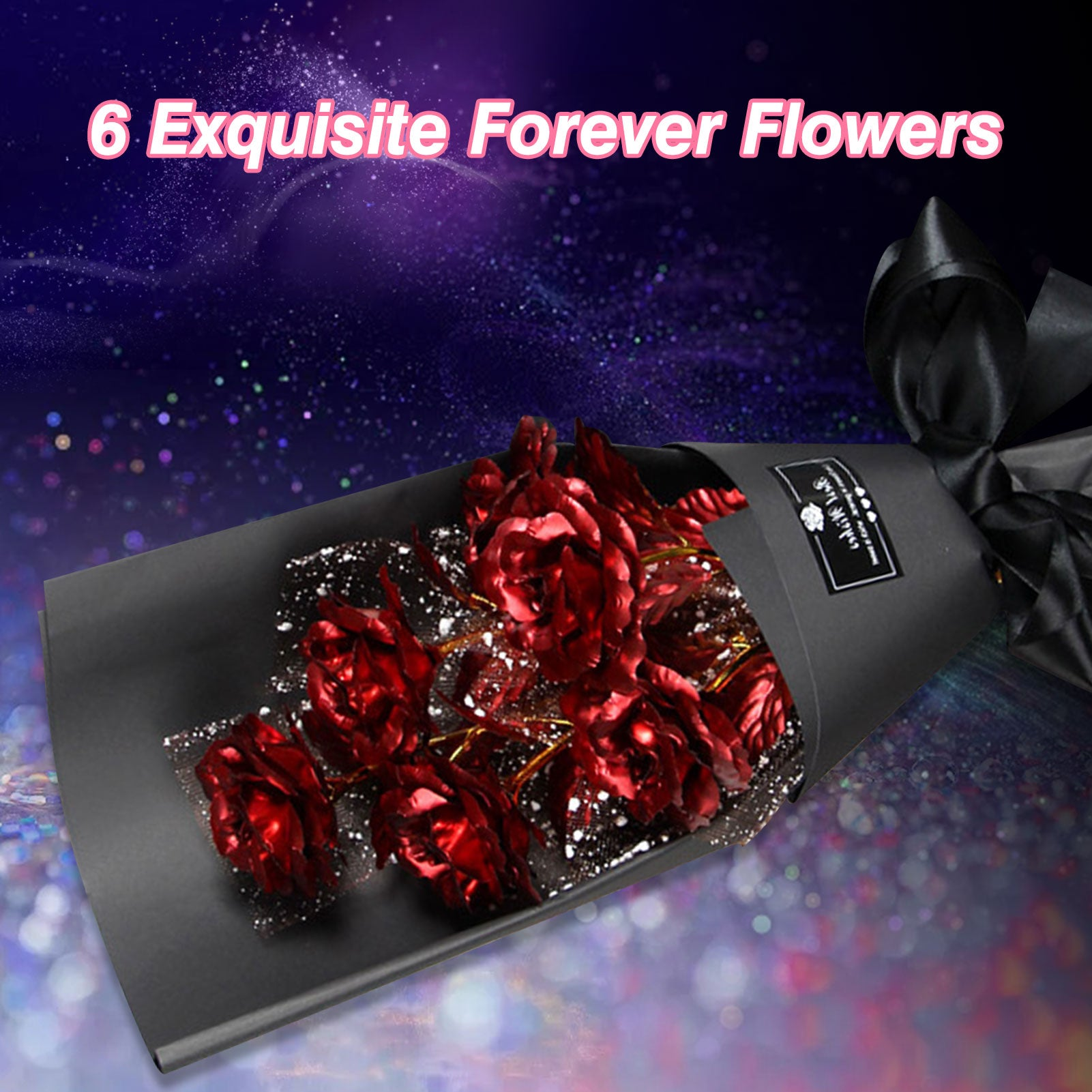 24k Galaxy Foil Rose Bouquet 6 Flower Arrangement (5 Colors) w/Gift Box