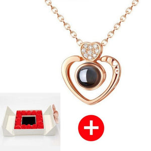 """I Love You"" Forever 100 Language Micro Projection Necklace With Rose Box (30 Options)"