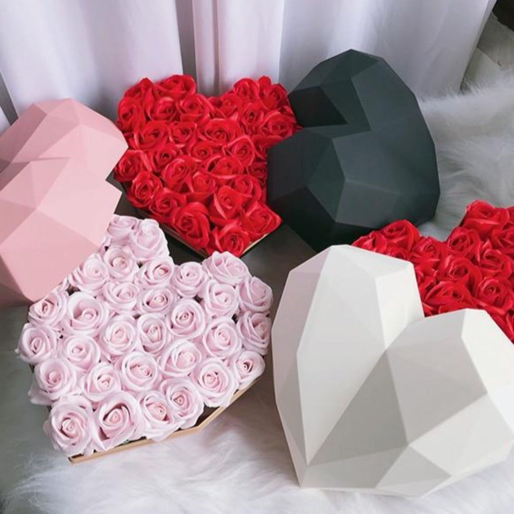 Heart Gift Box with Rose Scented Enchanted Soap Flowers (11 Styles)