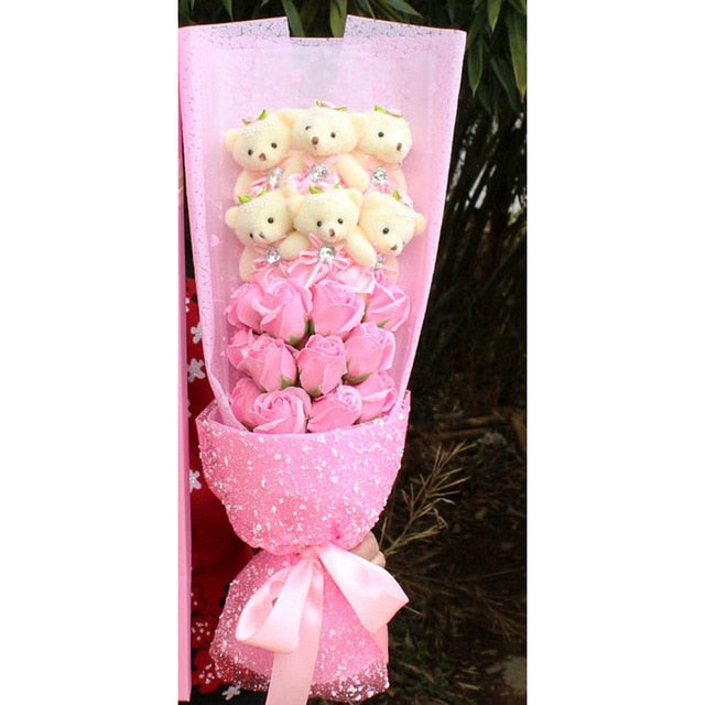 Rose Teddy Bear Bouquet Enchanted Flower (6 Designs) NO BOX