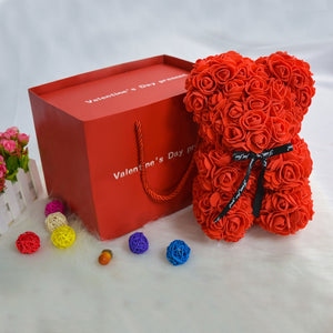 Enchanted Forever Rose Teddy Bear Gift Set with Ring & Necklace (6 Colors)