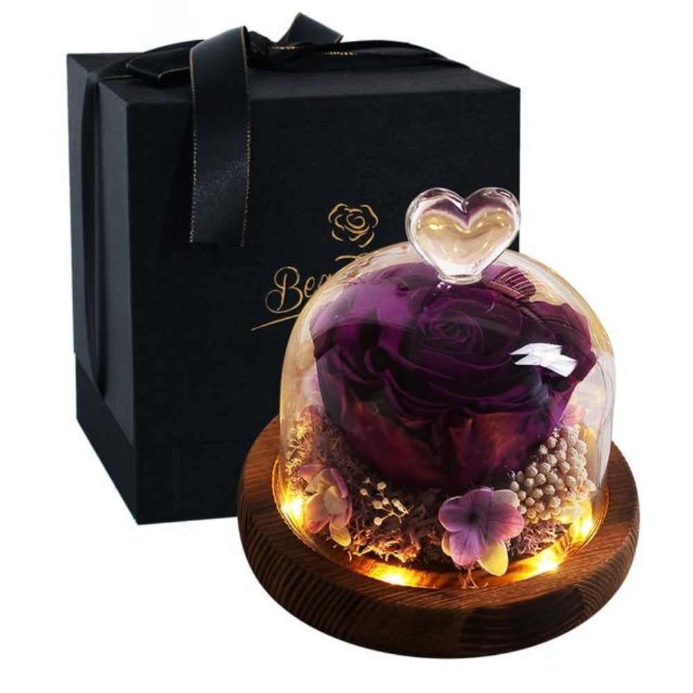 Limited Edition 2021 Immortal Enchanted Rose Glass Heart Dome (15 Colors) With Luxury Gift Box