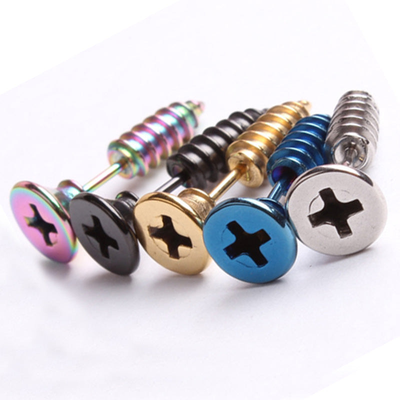 3D Screw Earring Set (5 Color Choices)