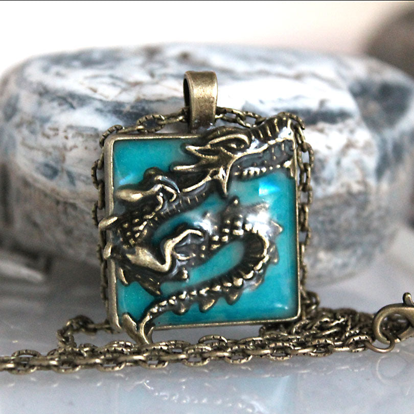 Square Dragon Pendant Luminous Glow In The Dark Necklace