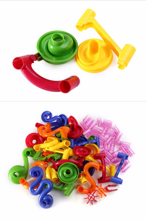 Marble Maze Race Building Block Tubes 105 Piece Set