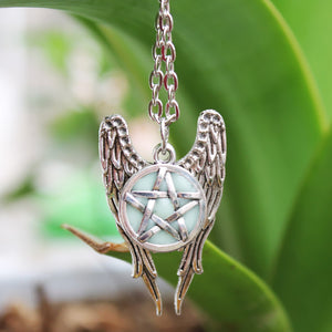 Glow in the Dark Angel Wings Pentacle Necklace