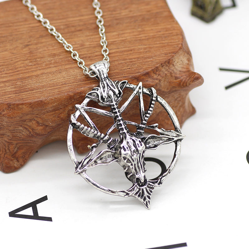 Pentagram Goat Head Necklace