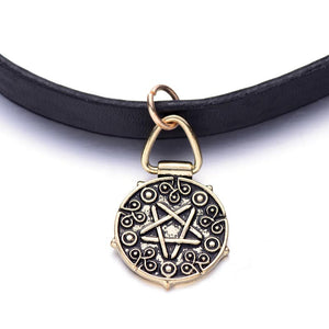 Pentagram Leather Choker Necklace and Felt Bag
