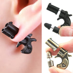 3D Gun and Bullet Earring Set Black or Copper
