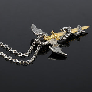 Sword & Dragon Luminous Glow In The Dark Necklace