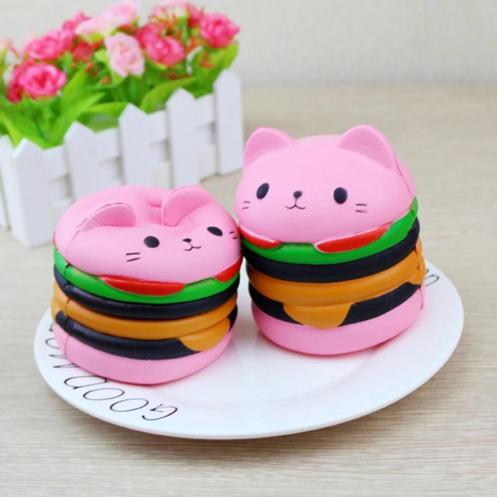 Kawaii Jumbo Cat Hamburger Squishy (Pink)