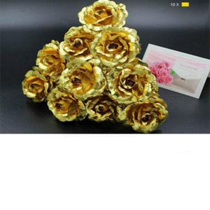 "10 Pack 24k Gold Rose ""Love You For Life"" Love Display Stand & Gift Card"