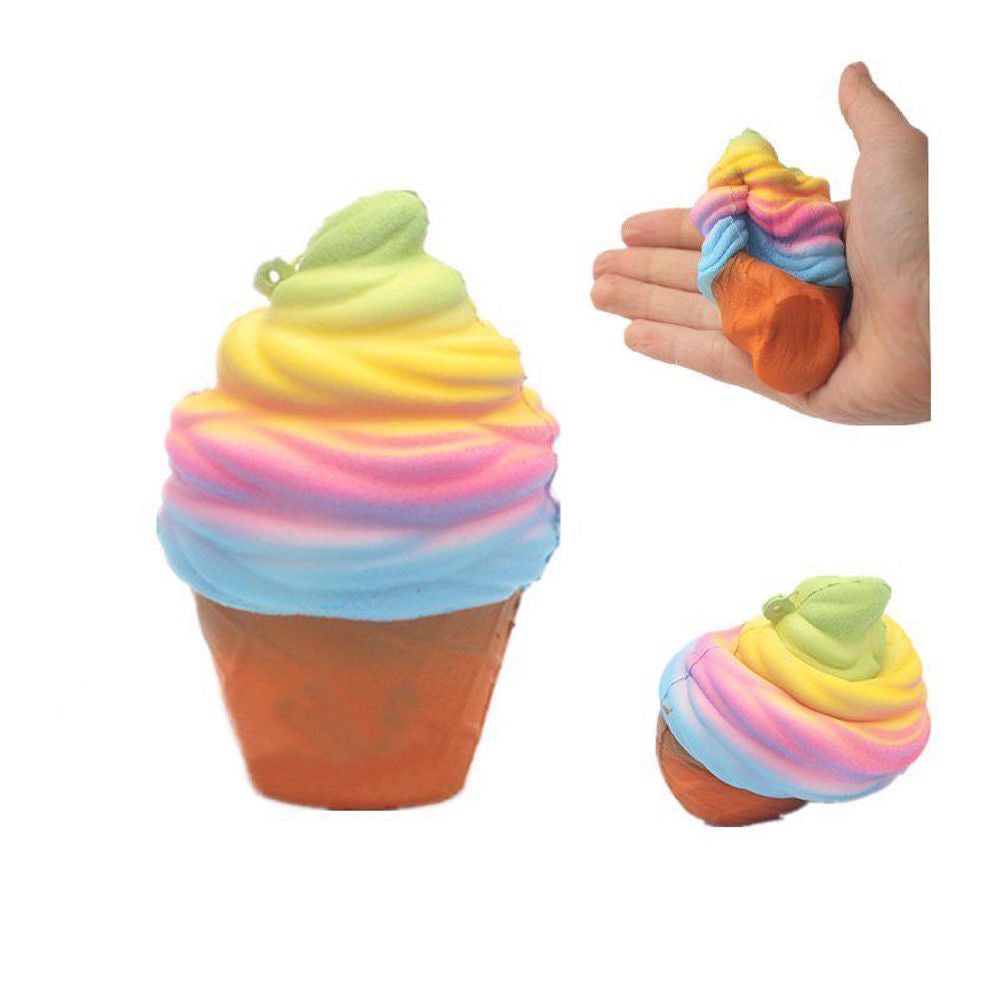 Jumbo Kawaii Rainbow Ice Cream Cone Squishy