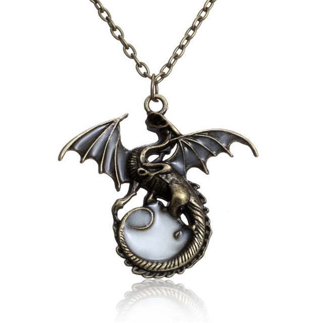 Proud Dragon Luminous Glow In The Dark Necklace (Silver or Bronze)