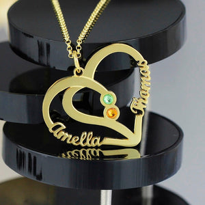 Soul Twin Custom Laser Cut Name Heart Necklace