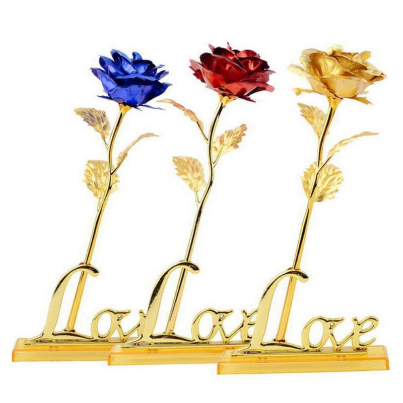 "24k Gold Rose ""Love You For Life"" Love Display Stand & Gift Card"