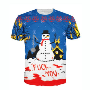 Angry Snowman All Over Print T-Shirt