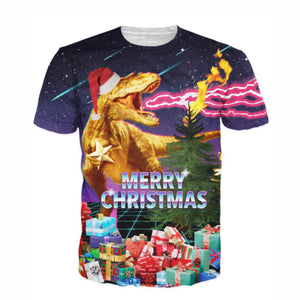Merry Christmas T-Rex Santa All Over Print T-Shirt