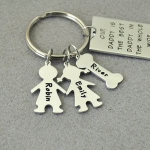 Custom Personalized Best Daddy In the World Keychain Up To Four Children or Pets