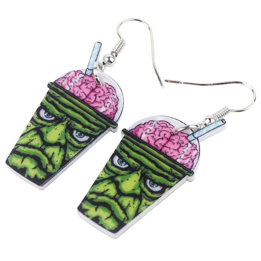 Frankenstein Brain Slurpy Slushy Earrings